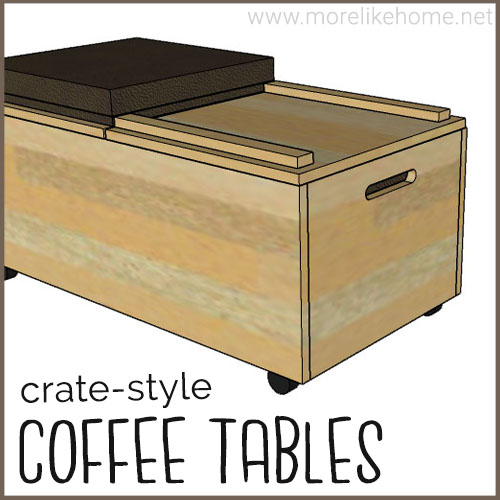 diy coffee table building plan crate rustic seating rolling