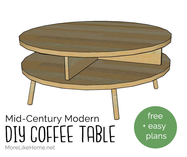 More Like Home Diy Mid Century Modern Round Coffee Table Day 12