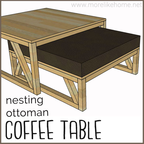 diy coffee table building plans nesting ottoman