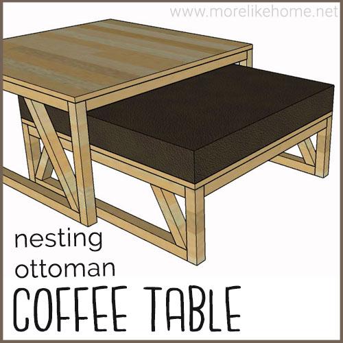 diy coffee table building plans nesting ottoman