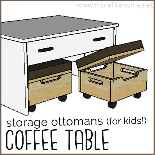 diy coffee table buiding plans families kids nesting rolling storage ottoman drawer