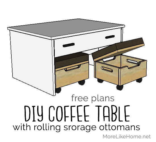 More Like Home Coffee Table With Nesting Storage Ottomans