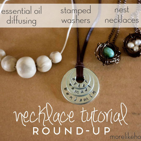 handmade necklace tutorial roundup stamped washer nest essential oil