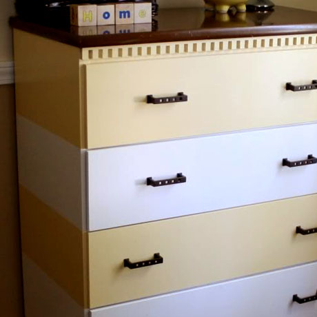 striped dresser tutorial makeover