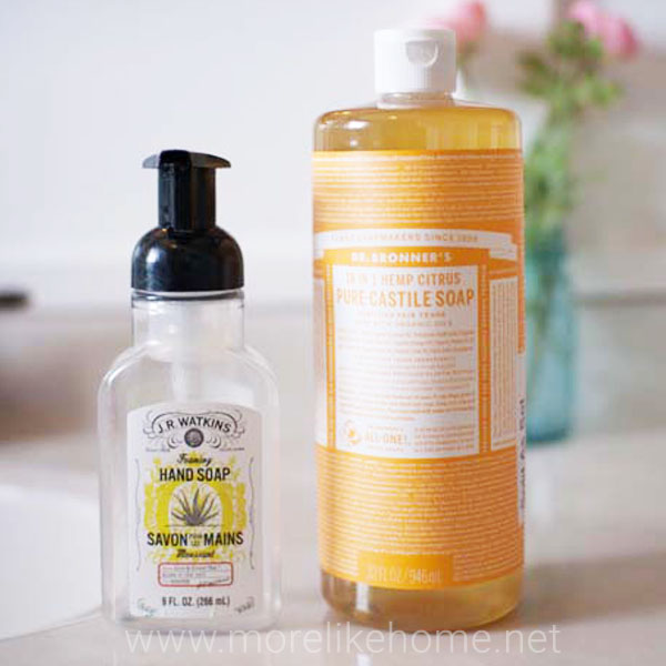 diy natural foaming hand soap dr bronners castile