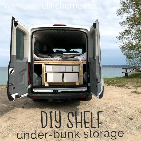 diy camper van tutorial ford transit shelf storage