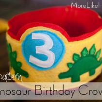 Dinosaur Birthday Crown Pattern