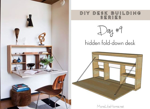 More Like Home Diy Desk Series 9 Fold Down Wall - Diy Fold Down Work Table