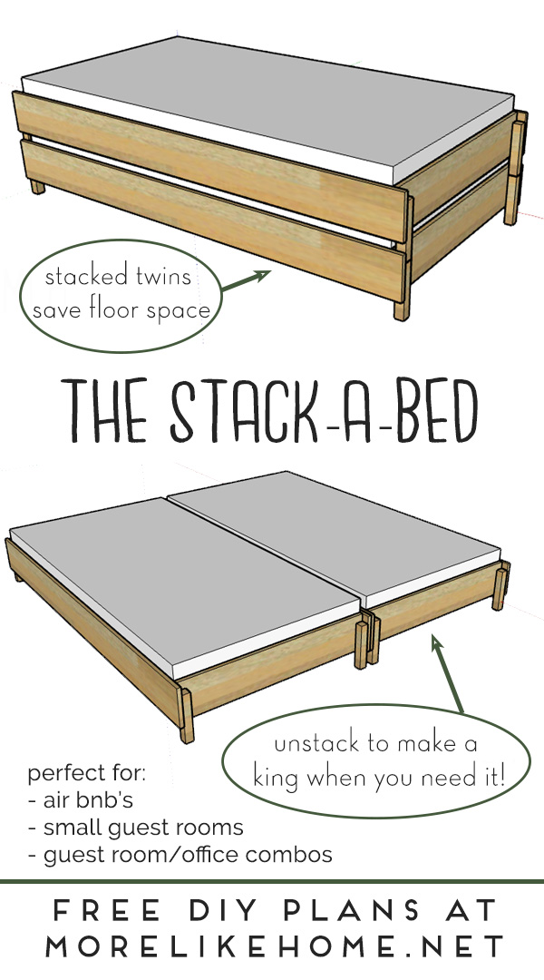 The Stack A Bed Converts From Twin To, 2 Twin Beds Make A Queen Or King