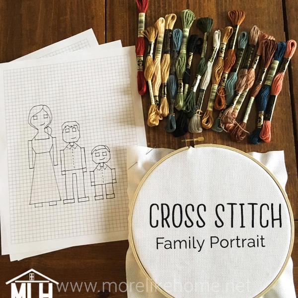 diy custom cross stitch family portrait tutorial gift idea