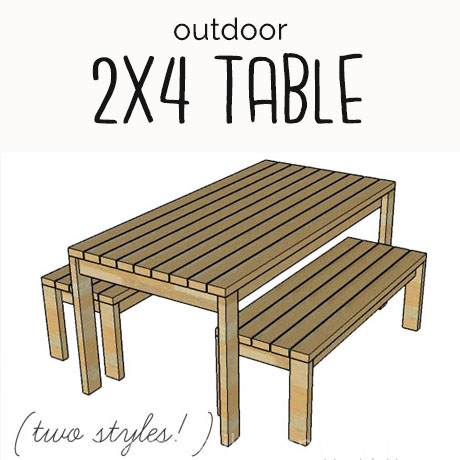 build a simple outdoor table and benches with 2x4s