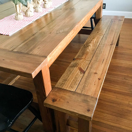diy long farmhouse bench building plans