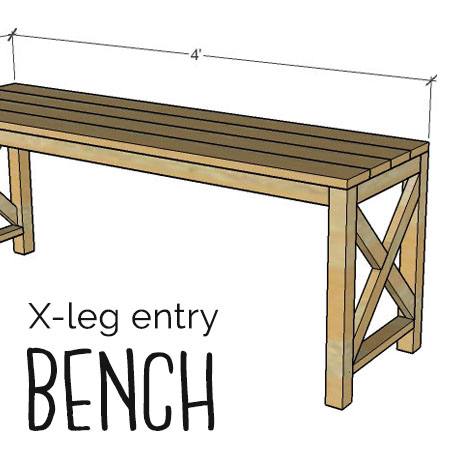 x leg entry bench diy building plans