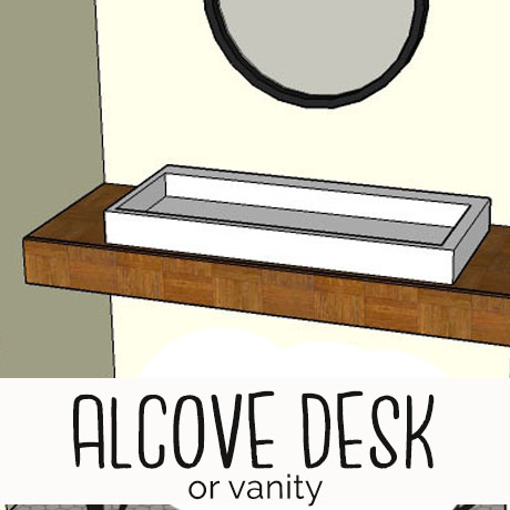 modern built-in vanity desk alcove
