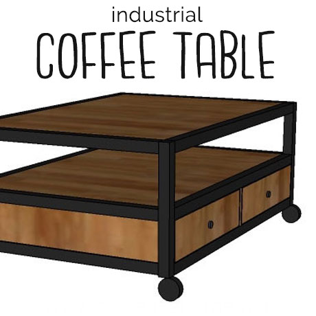 diy modern industrial coffee table building plans with drawers