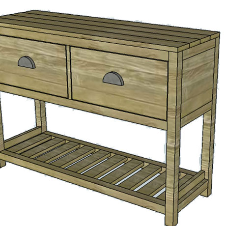 entryway table console diy building plans