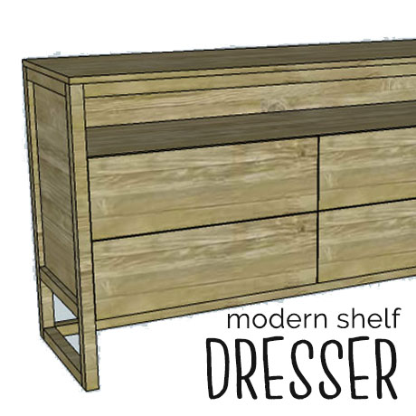 diy modern shelf dresser building plans