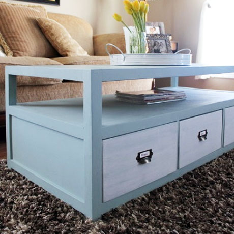 diy pottery barn coffee table with drawers building plans