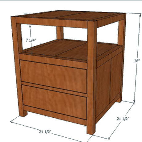 diy pottery barn nightstand end table building plans