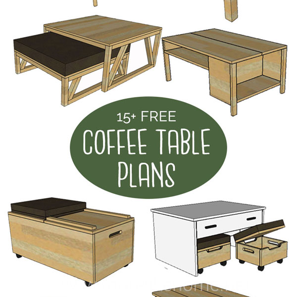 diy coffee table free building plans modern rustic farmhouse simple easy