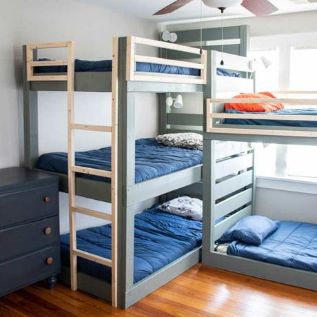 diy bunk beds bunkbeds triple easy free building plans kids room boys bedroom