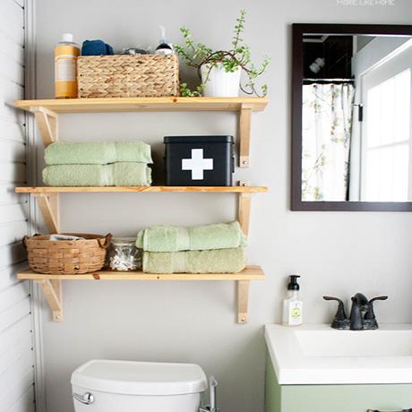 bathroom low budget makeover reveal spending freeze open shelving