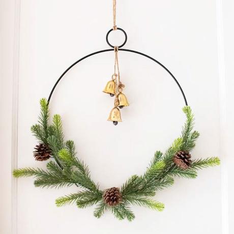 easy diy minimalist hoop christmas wreath evergreen bells