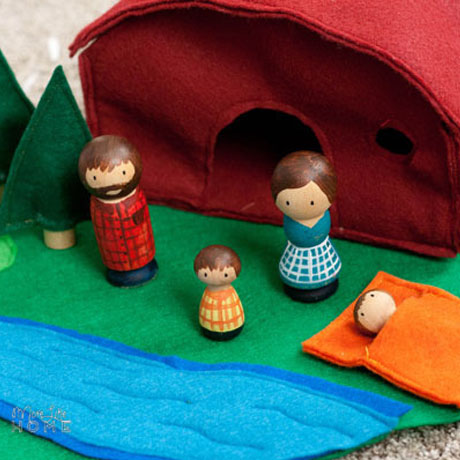 felt peg doll camping playset